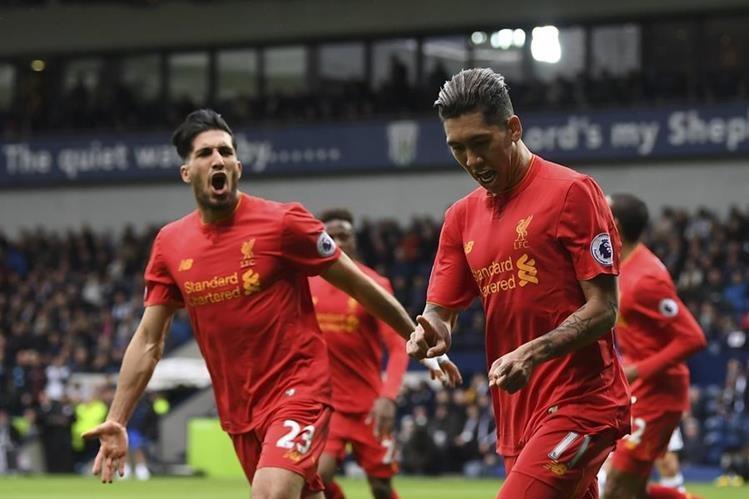 Firmino celebra el gol de la victoria del Liverpool contra el West Bromwich. (Foto Prensa Libre: AFP).