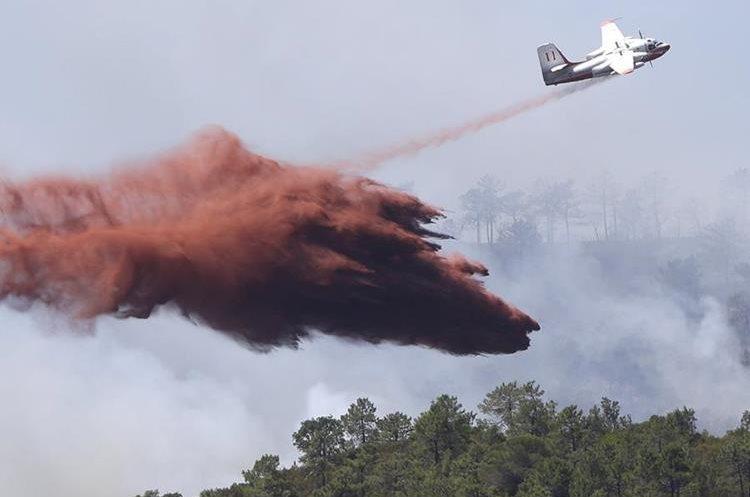 Un avión cisterna combate el incendio en las afueras de La Londe-les-Maures. (AP).
