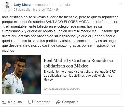 Lety Mora, tía del pequeño también escribió un mensaje al jugador en su cuenta de Facebook. (Captura de Pantalla Facebook).