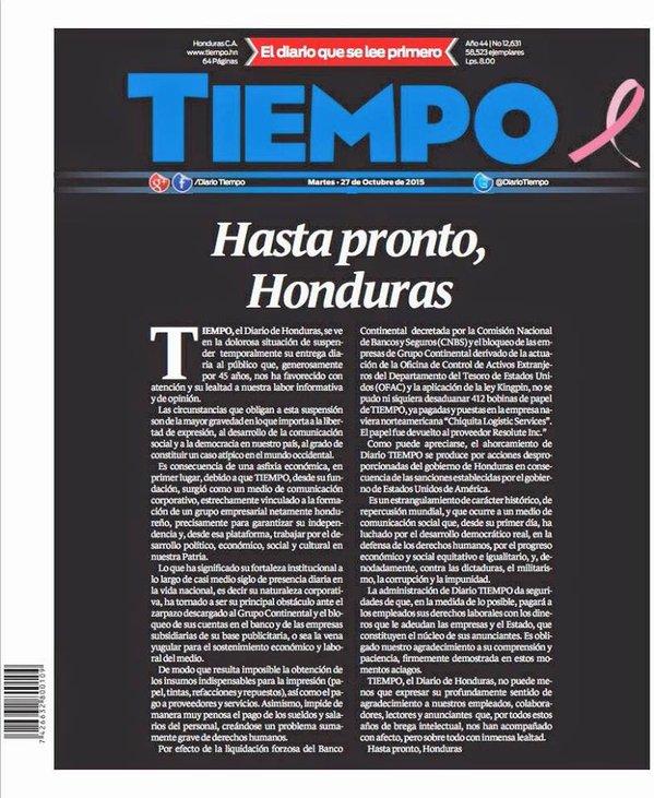 Último editorial del Tiempo después de varios días de funcionar sin que sus trabajadores recibieran salario. (Foto Prensa Libre: @Jorge_Mario).