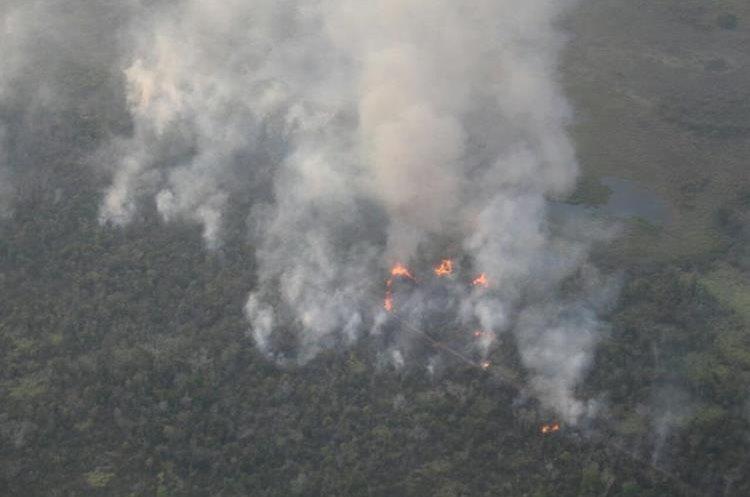 Sitio Arqueológico El Peruito, Parque Nacional Laguna del Tigre, después del incendio. (Foto Prensa Libre: cortesía Conap}