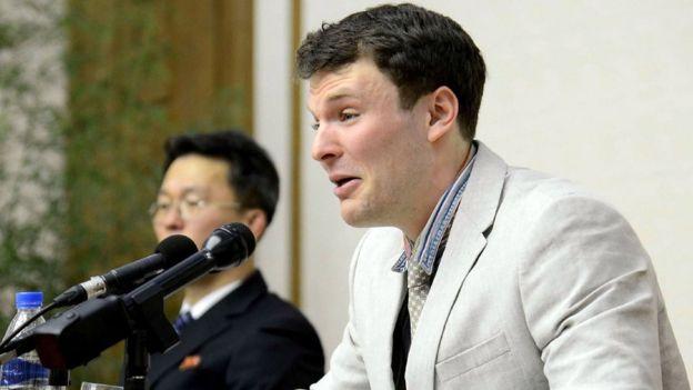 Otto declaró entre lágrimas que había tomado la peor decisión de su vida, durante su rueda de prensa en Pyongyang.