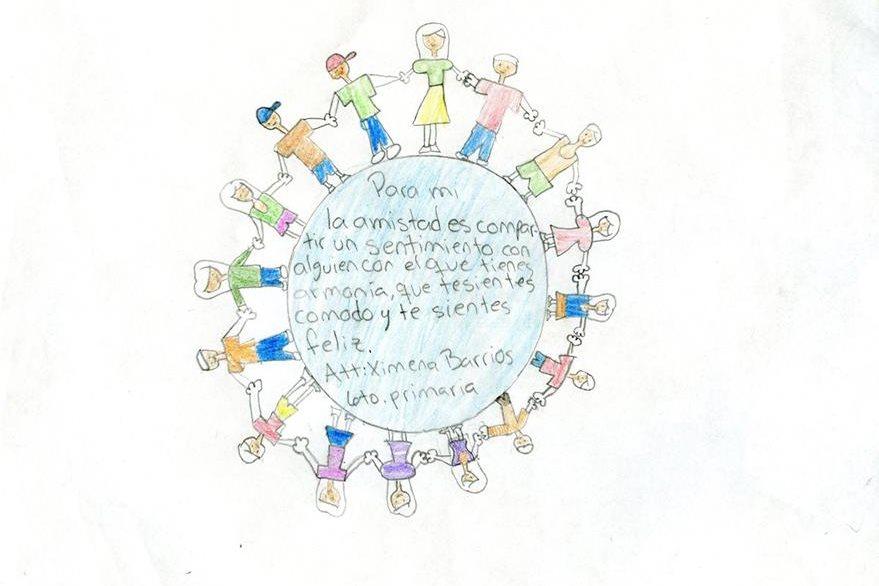 Niños del colegio Green Lawn  realizan dibujos  escolares   los cuales  muestran  el arte y la pintura.  Guatemala 5 de febrero de 2016