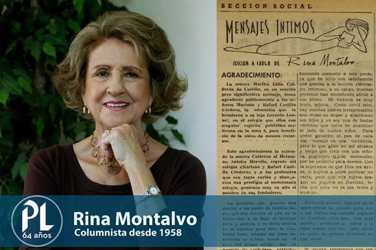 Rina Montalvo tiene más de 57 años de escribir para Prensa Libre. (Fotarte: Hugo Cuyán Vásquez)