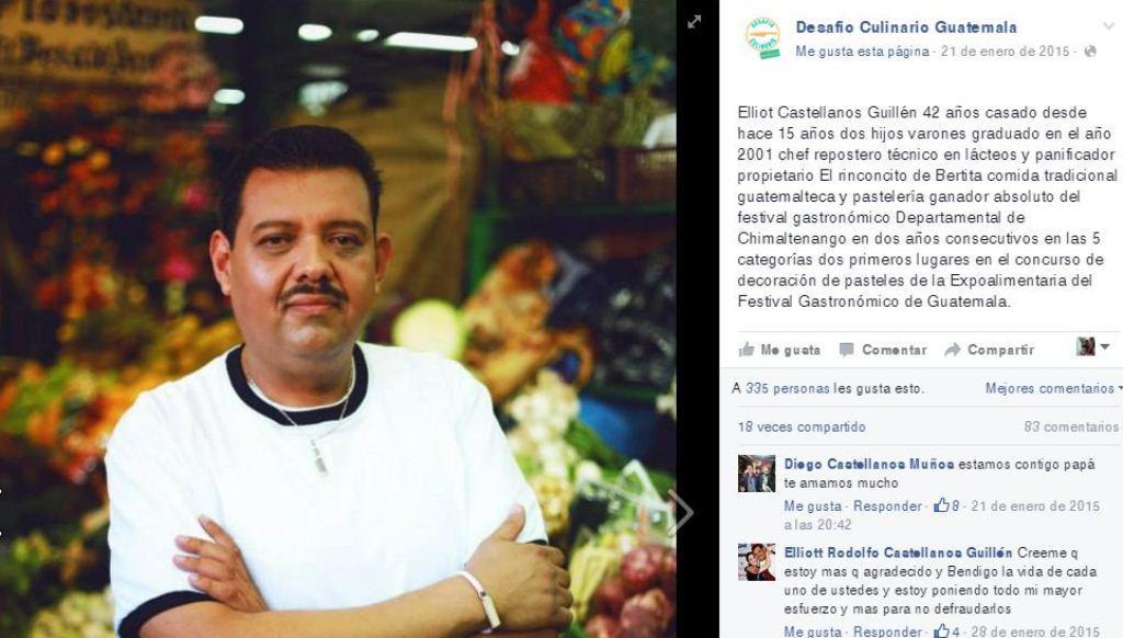 Elliott Castellanos participó en el 2015 en un concurso de comida. (Foto Prensa Libre: Desafío Culinario Guatemala).