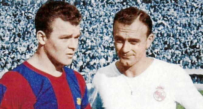 Ladislao Kubala y Alfredo Di Stéfano fueron los protagonistas de los clásicos españoles. (Foto Prensa Libre: Futbolprimera.es)