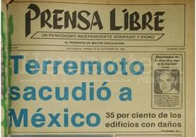 Titular de Prensa Libre del 19/09/1985. (Foto: Hemeroteca PL)