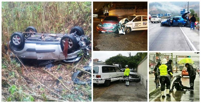 Accidentes de tránsito han sido causados por la llovizna de esta mañana. (Foto Prensa Libre)
