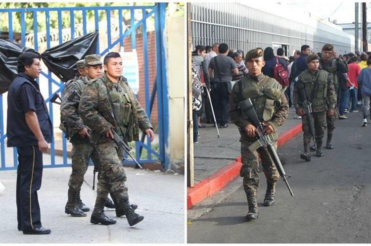 Elementos de la Policía Nacional Civil y del Ejército brindan seguridad en los Hospitales Roosevelt y San Juan de Dios. (Foto Prensa Libre: Érick Ávila)