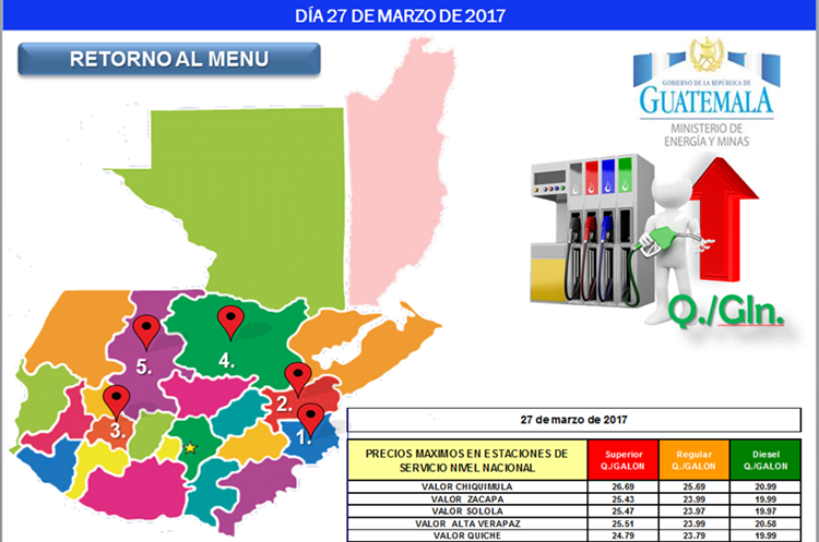 Mapa de departamentos con los combustibles a precio más caro, hacia finales de marzo de 2017. Fuente: Ministerio de Energía y Minas