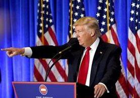 Donald Trump dio una conferencia en la Torre Trump de Nueva York.