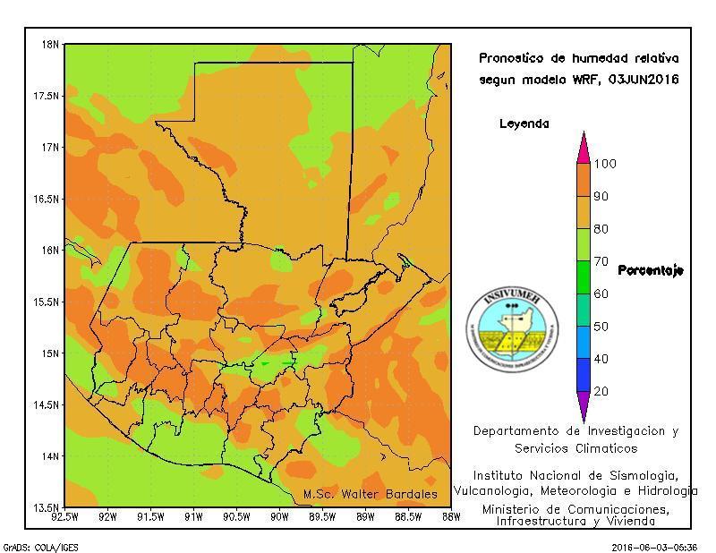 La humedad relativa en el país está entre 70 y 90 por ciento en todo el territorio. (Foto Prensa Libre: Insivumeh)