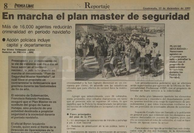 Nota del 13 de diciembre de 1992 informando sobre el plan master navideño del gobierno de Jorge Serrano. (Foto: Hemeroteca PL)