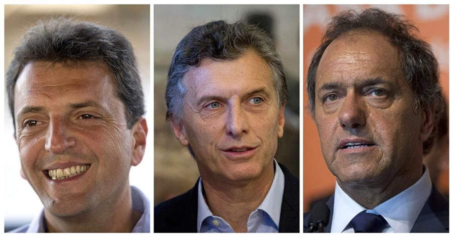 Sergio Massa, Mauricio Macri y Daniel Scioli son los tres contendientes en las primarias de Argentina (Foto Prensa Libre: (AP)