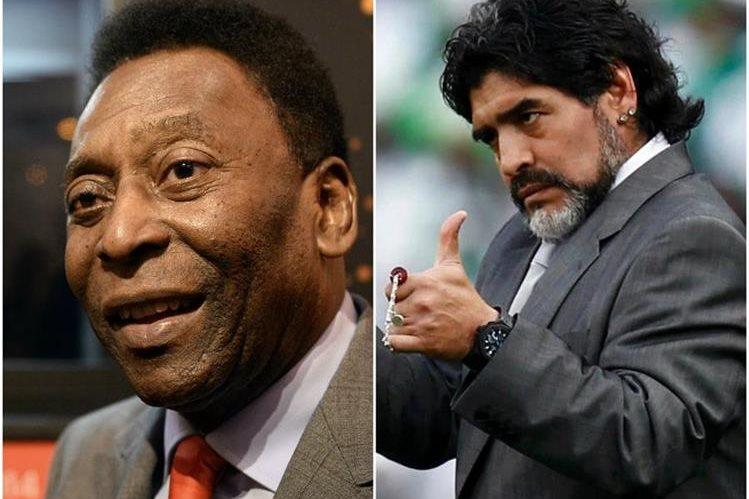 Pelé y Maradona, exfutbolistas de Brasil y Argentina, serán parte de la Copa Confederaciones. (Foto Prensa Libre: Hemeroteca PL)