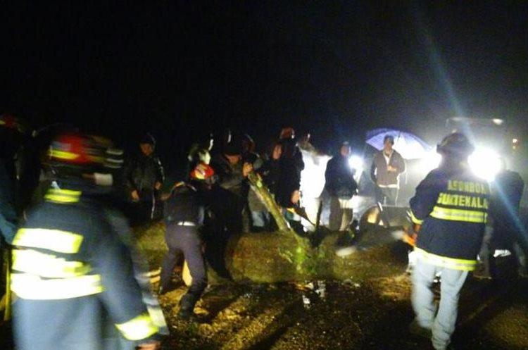 Un árbol impidió el paso entre San Marcos y Quetzaltenango. Bomberos trabajaron para permitir la circulación. (Foto Prensa Libre: CBMD)