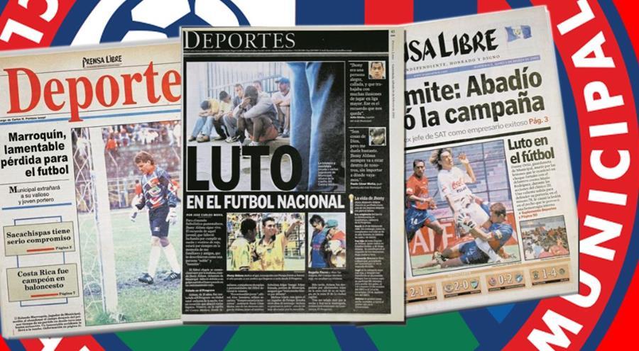 Estas fueron las portadas de Prensa Libre en los meses de febrero de 1994, 2002 y 2004 cuando fallecieron Rolando Marroquín, Jhony Aldana y Dany Ortíz. (Foto Prensa Libre: Hemeroteca)