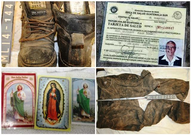 Entre los hallazgos en el desierto hay prendas de vestir, zapatos, imágenes religiosas e identificaciones, todo sirve para identificar a los migrantes. (Foto Prensa Libre: Cortesía)