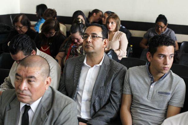 Samuel Morales y José Manuel Morales en audiencia de apertura a juicio por el caso Botín Registro de la Propiedad. (Foto Prensa Libre: Paulo Raquec)