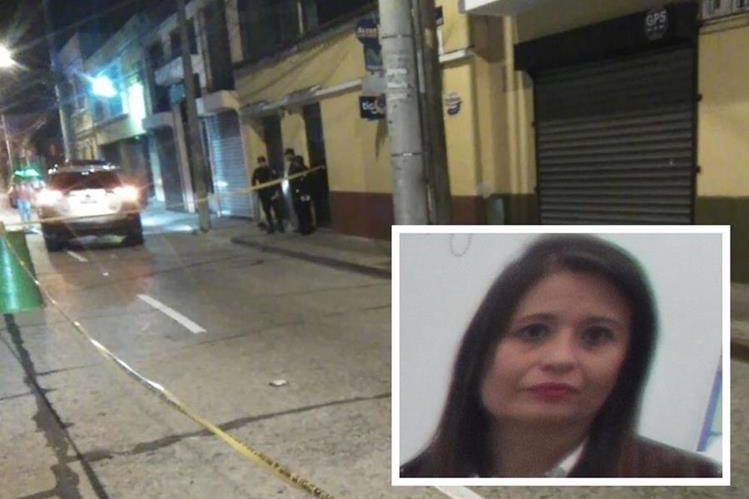 Agentes resguardan el lugar del ataque contra Ana Leonor Guerra Roldán -foto inserta-. (Foto Prensa Libre: Estuardo Paredes)