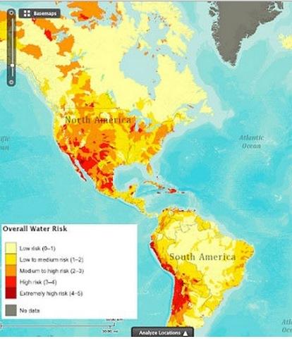 Mapa de áreas más vulnerables a la sequía difundido en internet.
