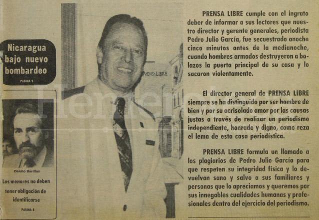 En la portada de Prensa Libre del 9 de octubre de 1983 se dió a conocer el secuestro de Pedro Julio García aún sin saberse de sus captores. (Foto: Hemeroteca PL)