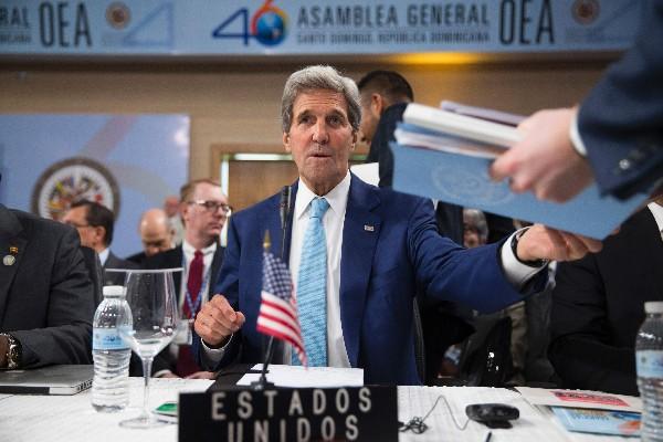 John Kerry, secretario de Estado de EE.UU. asiste a la asambles de la OEA. (AFP).