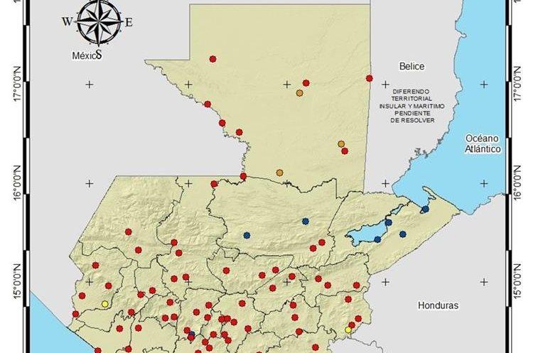 Los puntos azules significan que no hay necesidad de riego, los naranja y rojos representan alta y muy alta necesidad. (Foto Prensa Libre: Insivumeh)