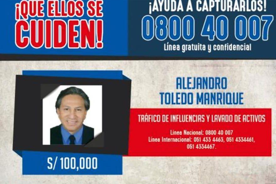 Reproducción del aviso de búsqueda y recompensa que el Ministerio del Interior del Perú puso en su página web en búsqueda del expresidente peruano Alejandro Toledo. (Foto Prensa Libre: EFE)