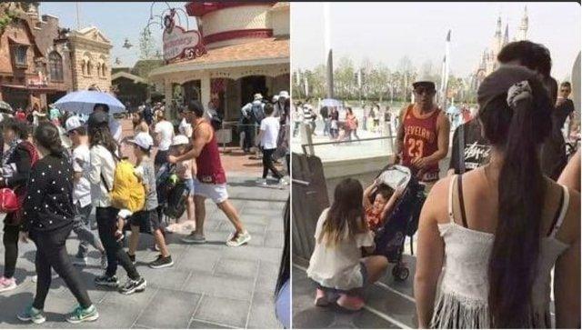 Carlos Tevez durante el paseo en Disney que desató la furia de los aficionados Shanghai Shenhua. (Foto Prensa Libre: Twitter).