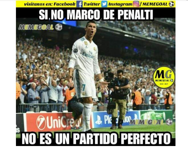 Las red hace referencia a la anotación de Cristiano Ronaldo de penalti. (Foto Redes).