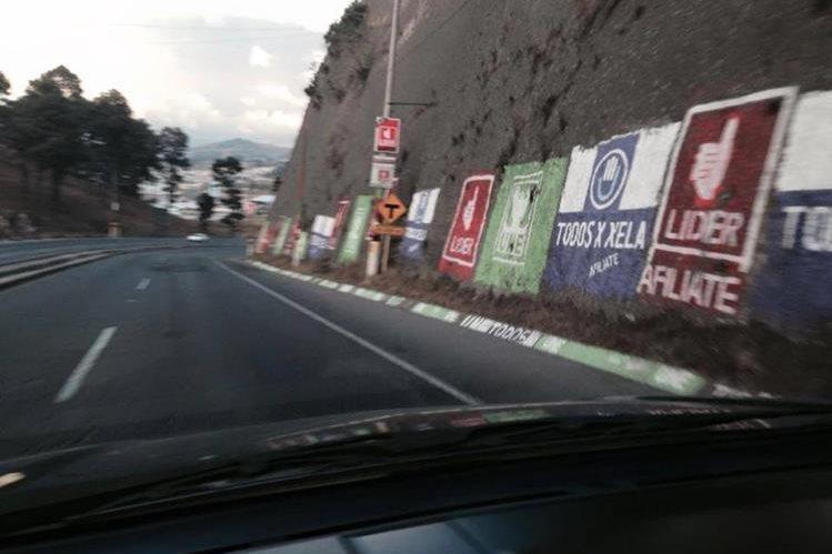 El TSE restringe el utilizar para campañas políticas pintura en árboles y piedras. (Foto Prensa Libre: Cortesía)