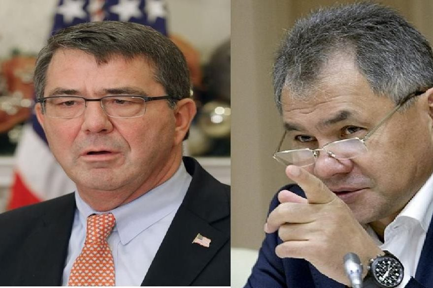 Los titulares de Defensa de Rusia, Serguéi Shoigú, y EE.U.U, Ashton Carter, hablaron sobre terrorismo yihadista.