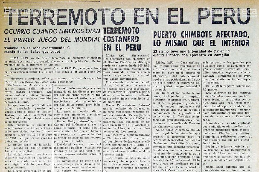 Nota periodística del 1 de junio de 1970 donde se detallaba el desastre del Terremoto de Perú. Foto: Hemeroteca PL