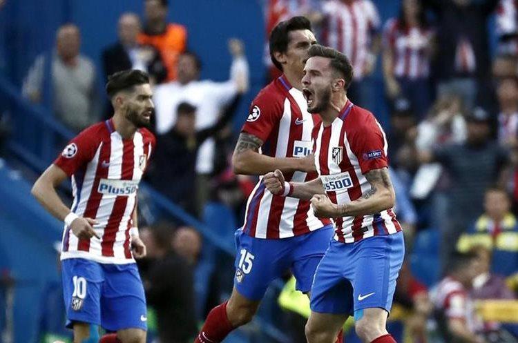 Saúl Ñíguez grita y celebra el 1-0 para el Atlético de Madrid.