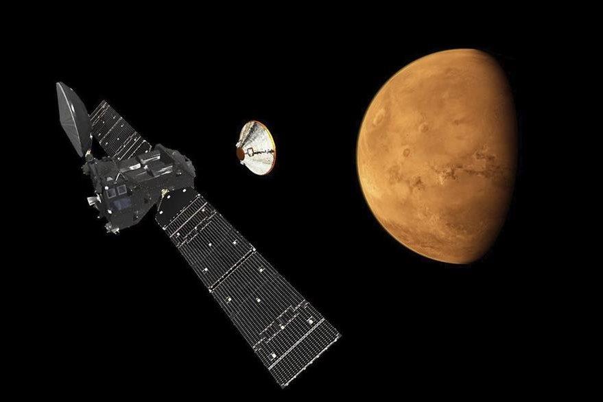 Sonda Exomars acercándose a Marte. (Foto Prensa Libre: EFE)