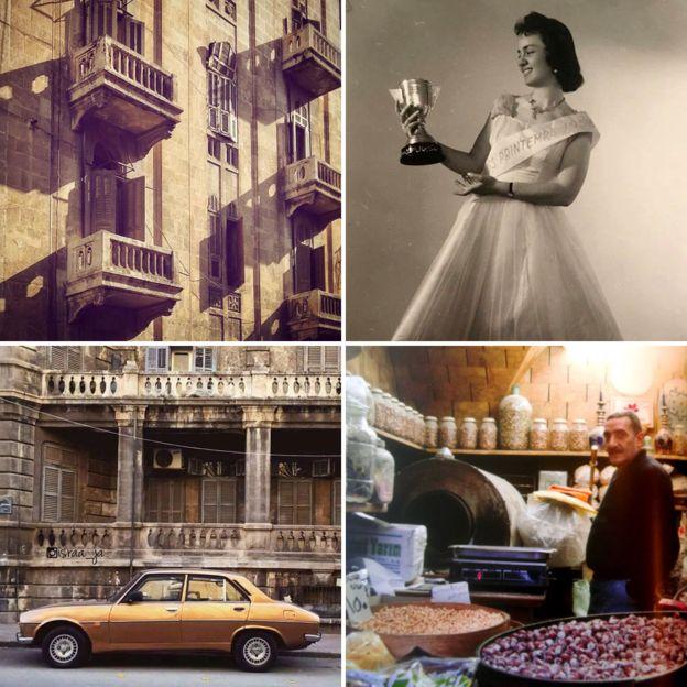 Balcones, una reina de belleza, un coche dorado y un vendedor de nueces en el zoco. ALEPPO NATIONAL ARCHIVES