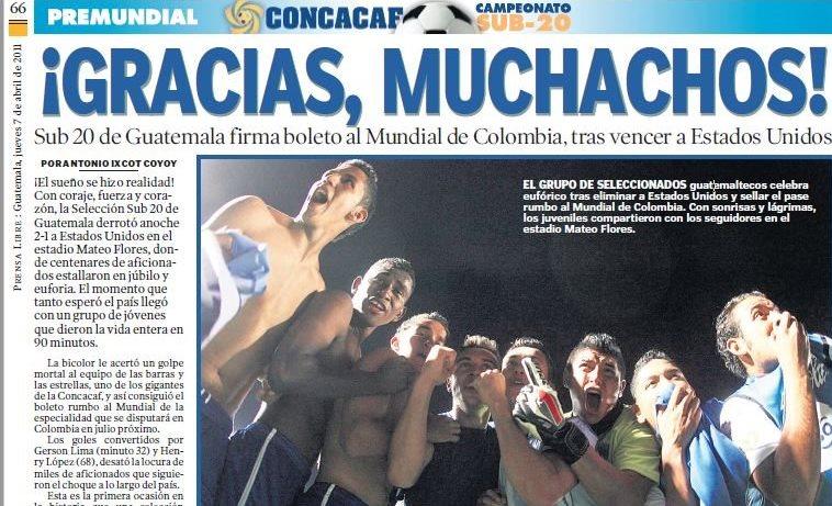La Selección Nacional Sub 20 de Guatemala hizo historia al conseguir la clasificación mundialista a Colombia 2011. (Foto Prensa Libre: Hemeroteca)
