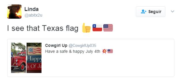 """""""Veo la bandera de Texas"""", dice el tuit. TWITTER"""