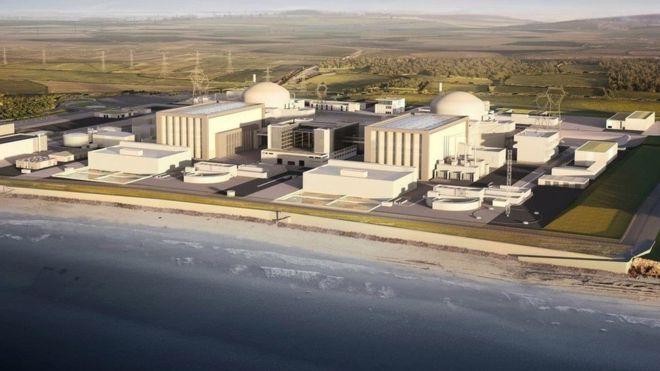Una recreación digital del punto C de la planta nuclear Hinkley en Somerset, en el suroeste de Reino Unido. AFP