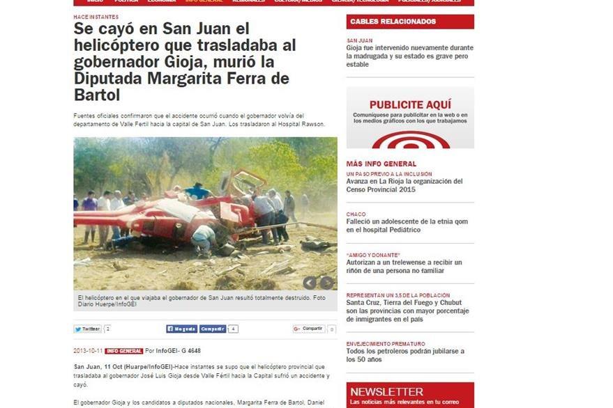 Un artículo del accidente original en San Juan, Argentina en 2013, publicado por InfoGel. (Foto Prensa Libre)