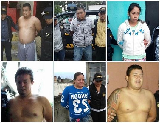 Seis personas fueron capturados por supuestamente integrar una estructura dedicada al robo en viviendas. (Foto Prensa Libre: PNC)