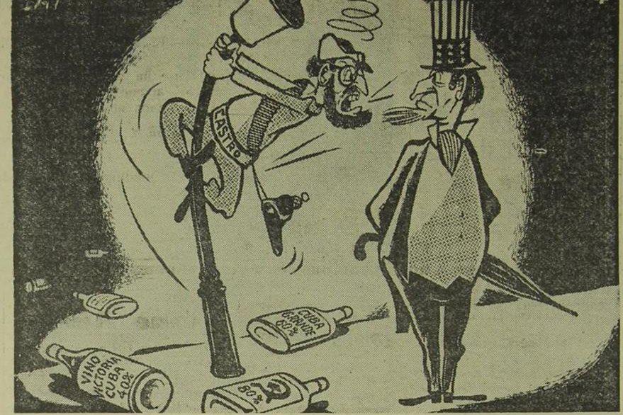 Caricatura sobre las relaciones tirantes de EE. UU. y Cuba en los años 1960. (Foto: Hemeroteca PL)