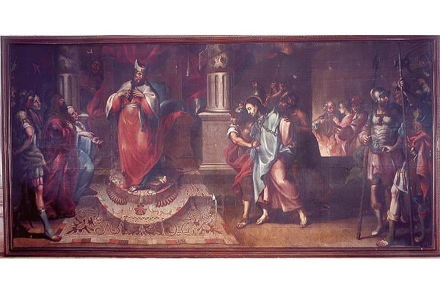 Pintura titulada Cristo ante Caifás, de la serie de la Pasión de Cristo. (Foto: Hemeroteca PL)