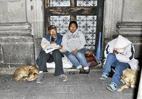 Adán Palacios y Yesenia Taracena pernoctan en una calle de la ciudad de Quetzaltenango, junto a otro indigente y dos perros. (Foto Prensa Libre: María José Longo)