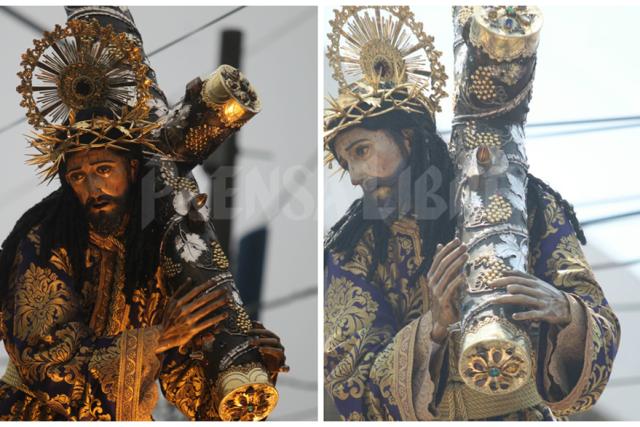 Un cucurucho dañó la imagen de Jesús Nazareno cuando intentó retirar unos cables del tendido eléctrico. (Foto Prensa Libre: Óscar Rivas)