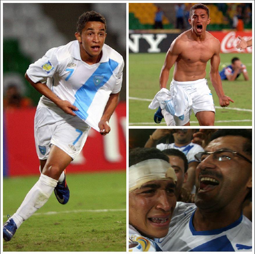 Esta es la secuencia del festejo de Marvin Ceballos luego de anotar el gol contra Croacia que le dio el pase a Guatemala a los octavos de final. Corre, se quita la camisa y abraza su papá, el exjugador Marvin Ceballos. (Foto Prensa Libre: Hemeroteca)