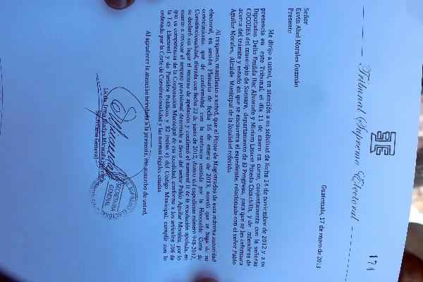 Notificación del TSE sobre la situación del alcalde
