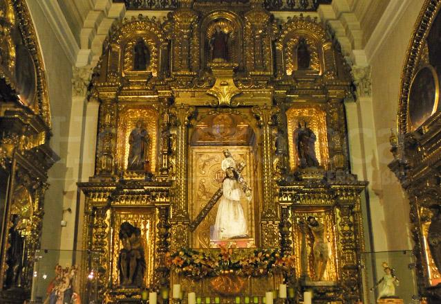 Retablo de Jesús de la Merced ubicado en la capilla sur, estrenado en 1760 y tallado por Francisco Javier de Gálvez. (Foto: Néstor Galicia)