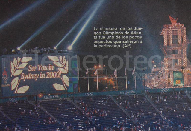La clausura de los Juegos de Atlanta 1996 dio el pase a los primeros juegos del siglo y milenio a realizarse en Sydney, Australia en el año 2000. (Foto: Hemeroteca PL)